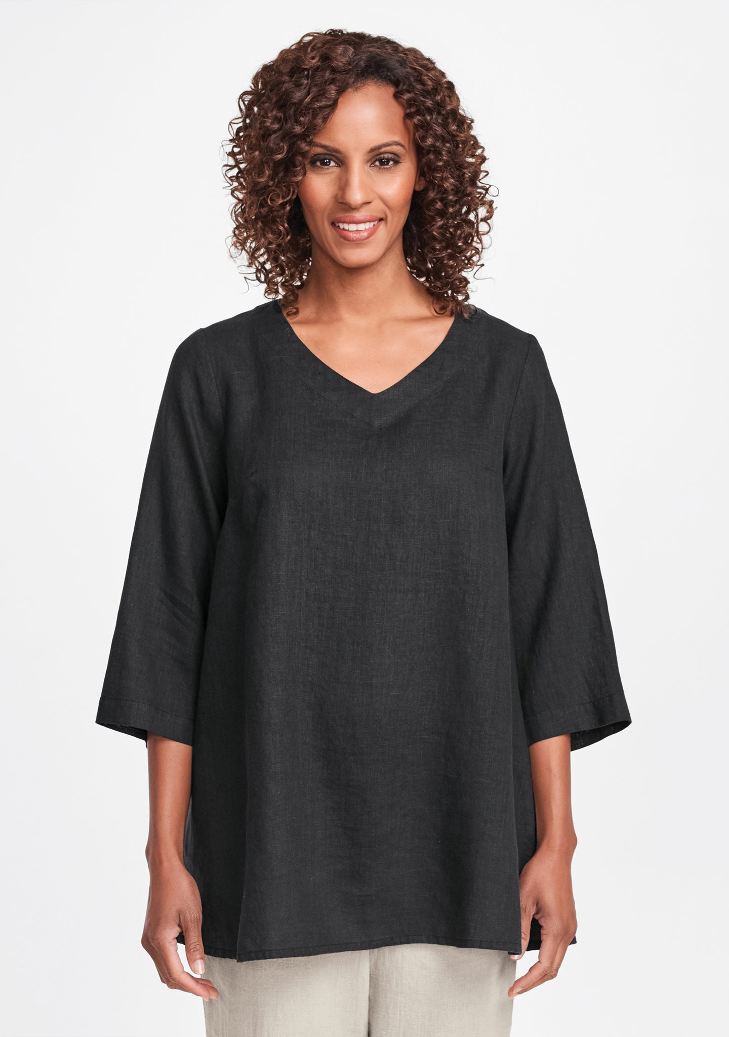 bloom tunic linen shirt black