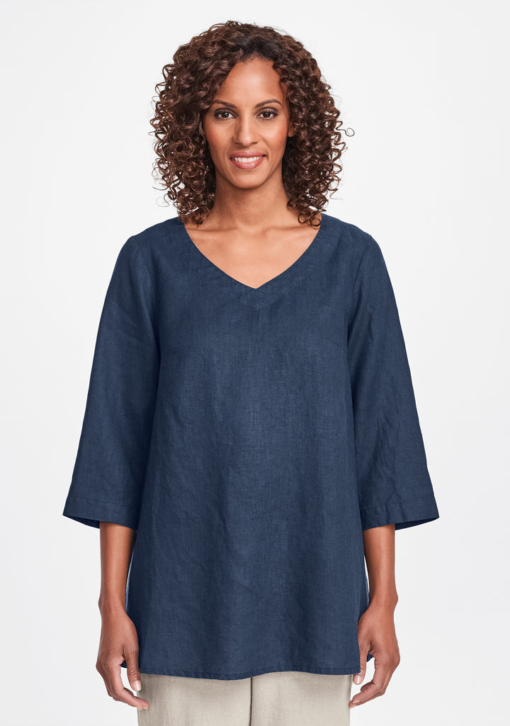 bloom tunic linen shirt blue