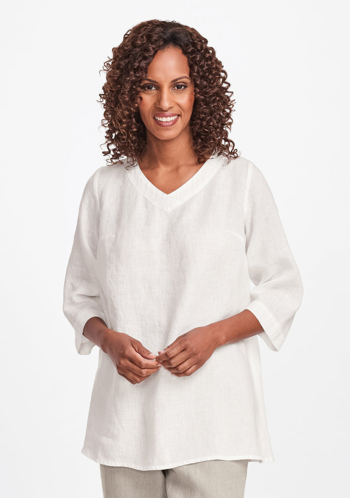 bloom tunic linen shirt white