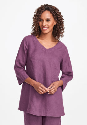 bloom tunic linen shirt purple