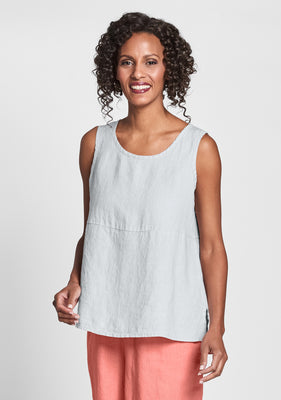 boxy tank linen tank top grey