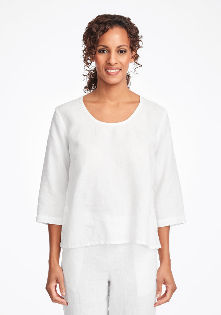 button crop linen shirt white
