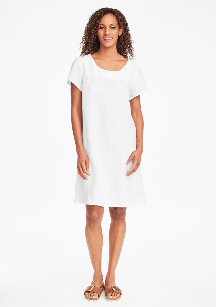button dress linen shift dress white