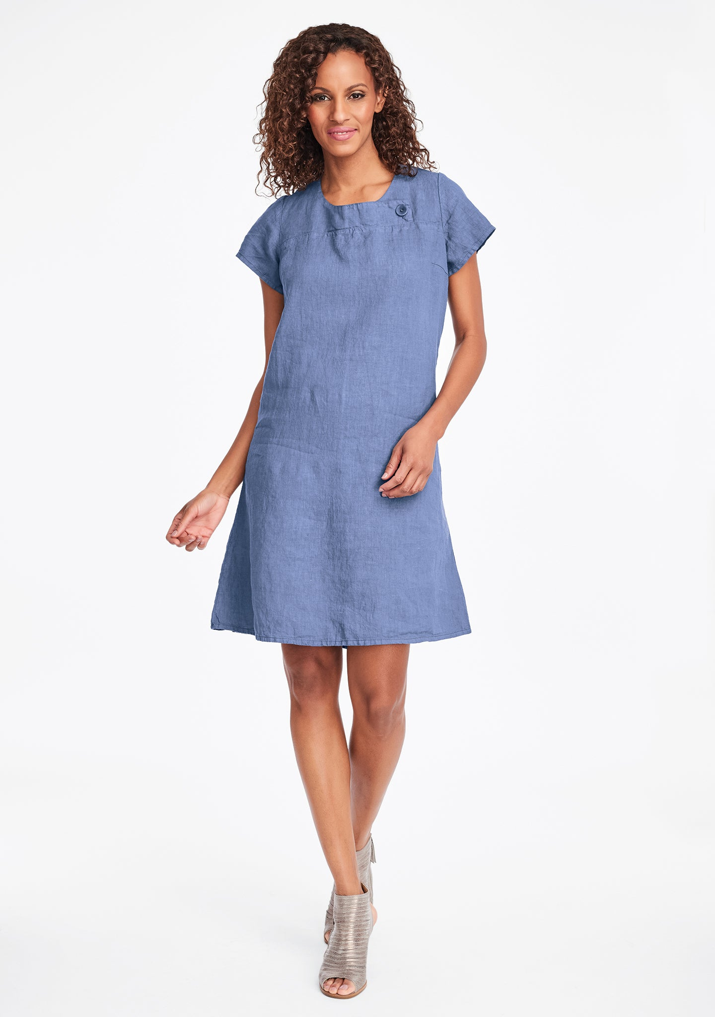 button dress linen shift dress blue