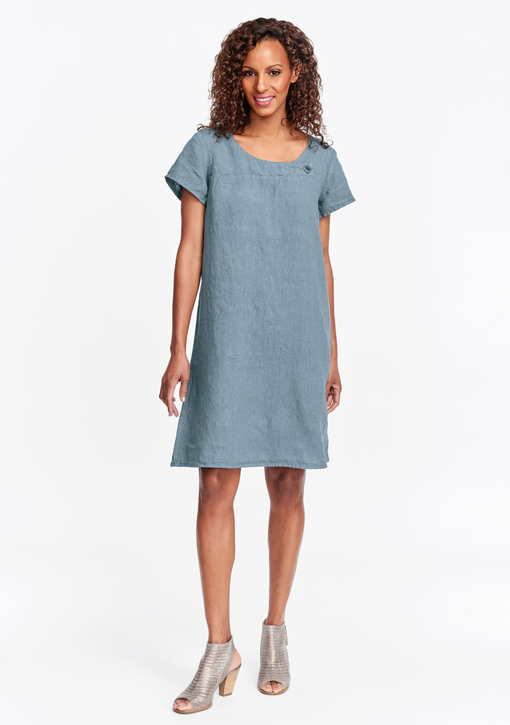 button dress linen shift dress green