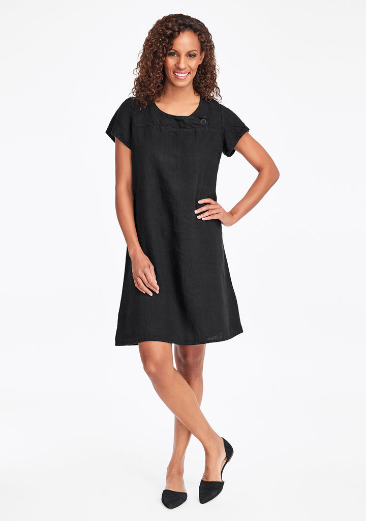 button dress linen shift dress black