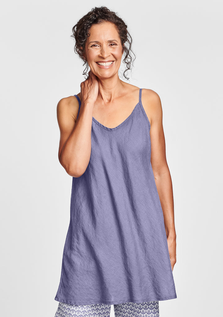 cami tunic linen tank top purple