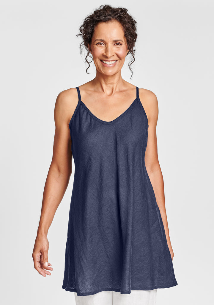 cami tunic linen tank top blue