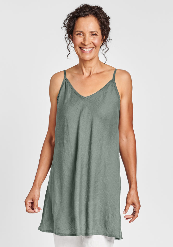 cami tunic linen tank top green