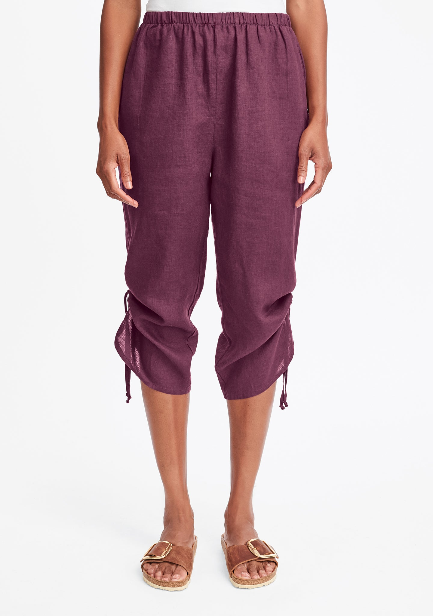 capri pant linen crop pants red