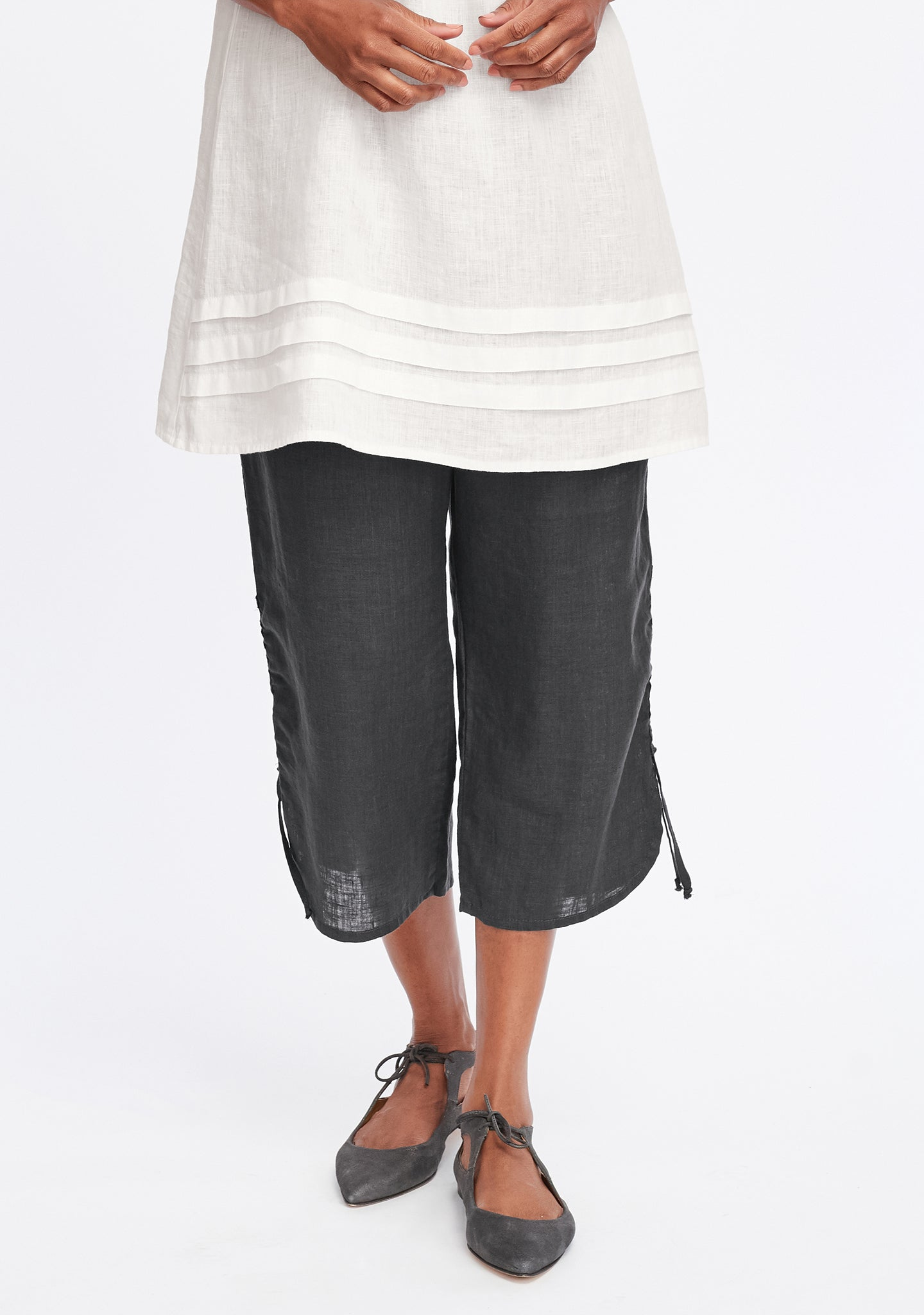 capri pant linen crop pants grey