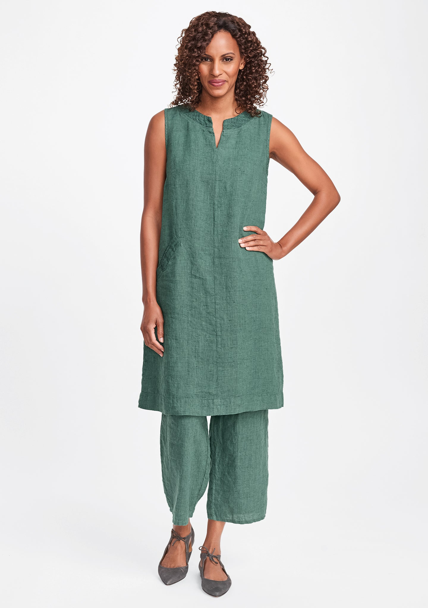 charming dress linen shift dress green