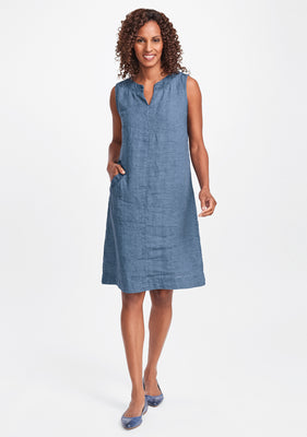 charming dress linen shift dress blue
