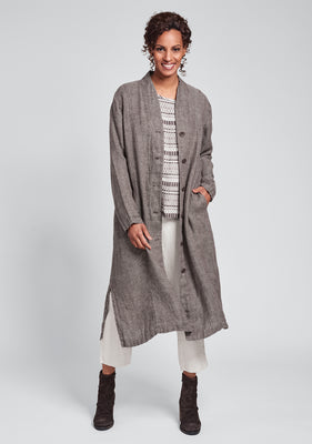 chosen duster linen jacket brown