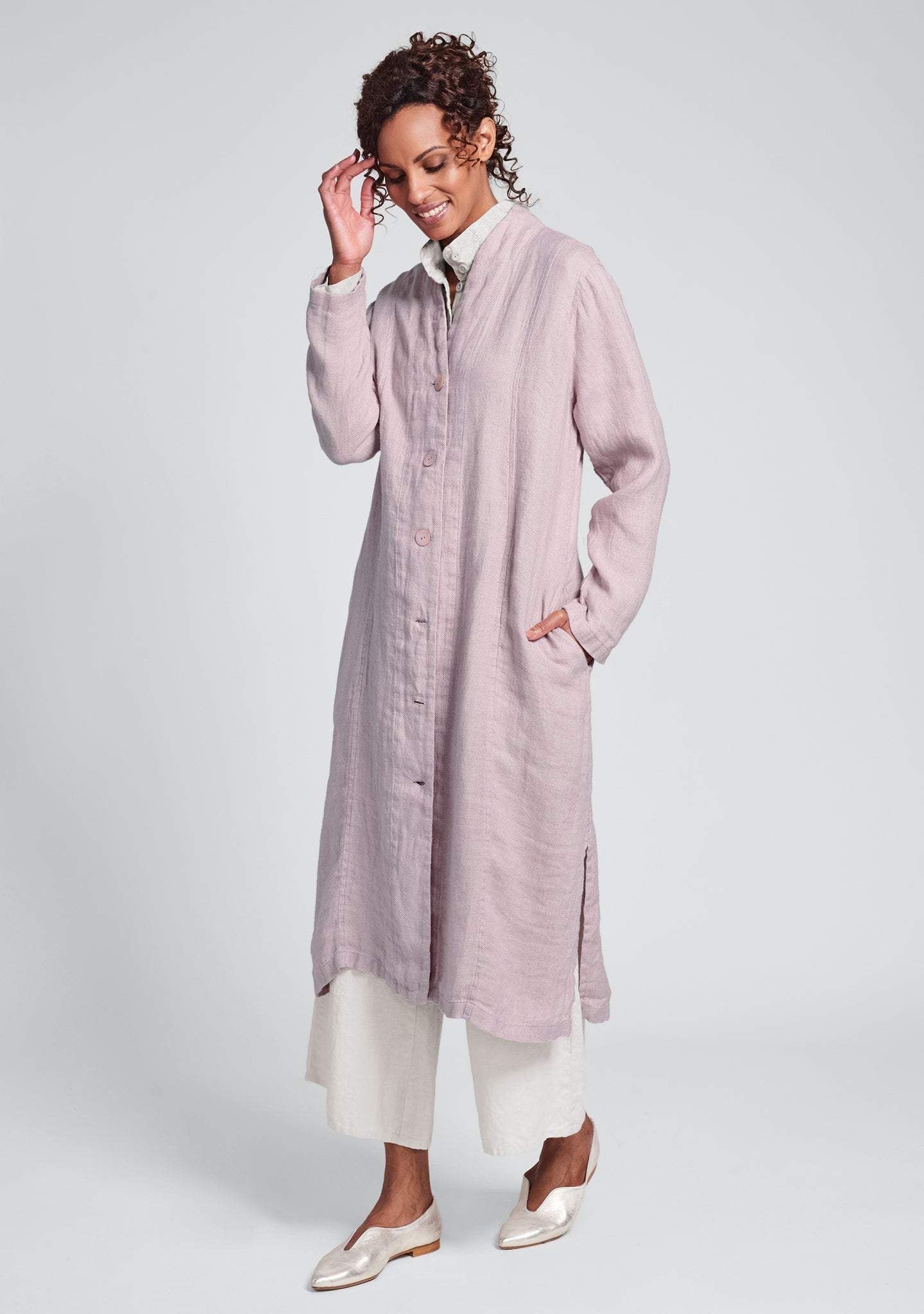 chosen duster linen jacket pink