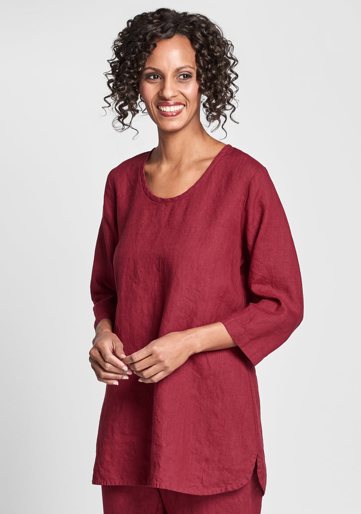 soft tunic linen shirt red