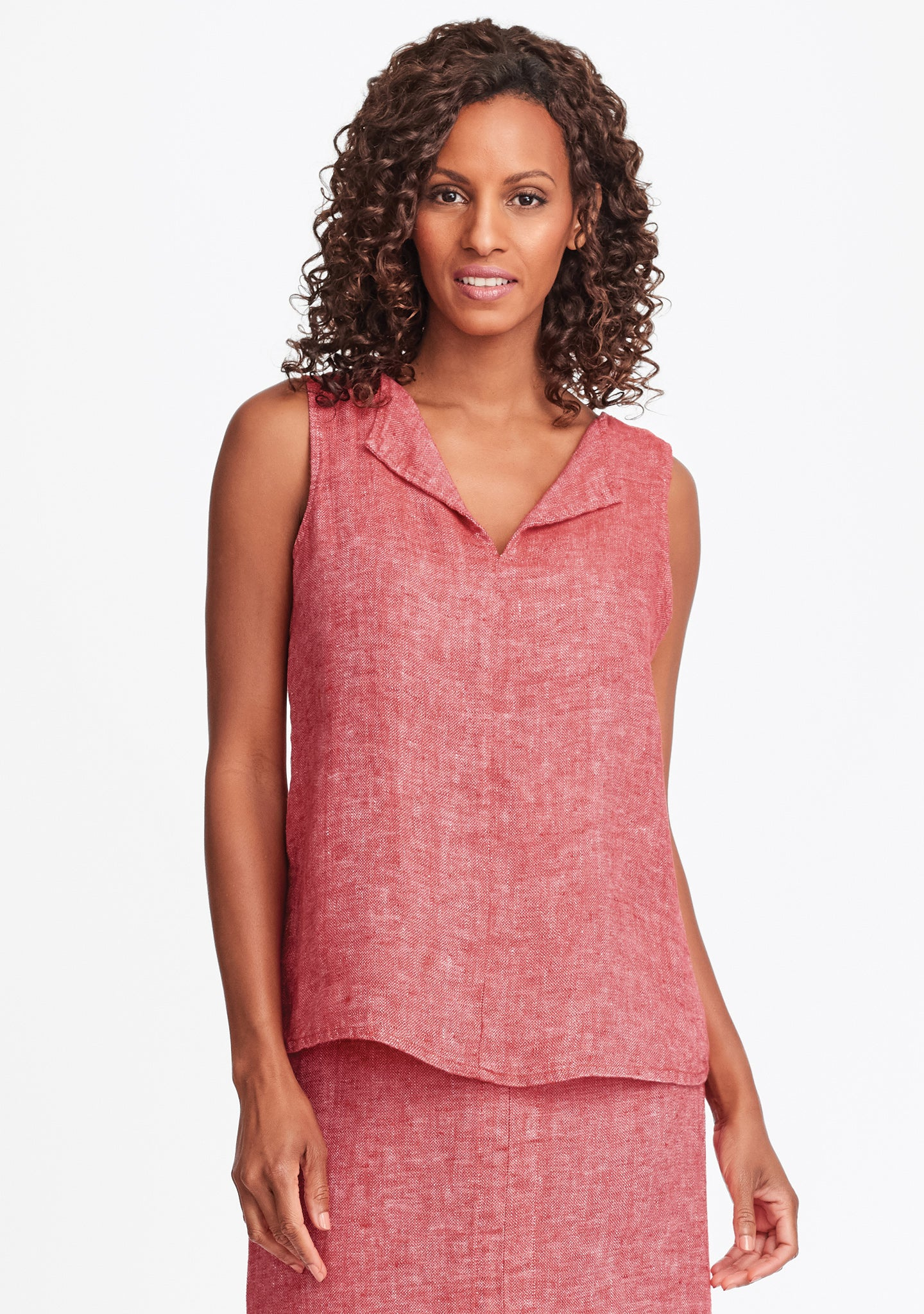 collared tank linen tank top red