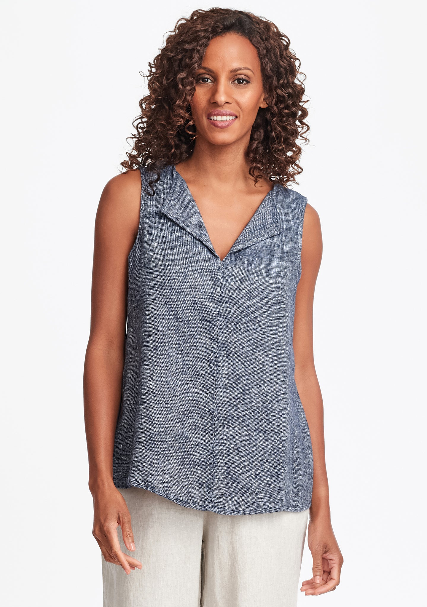 collared tank linen tank top blue