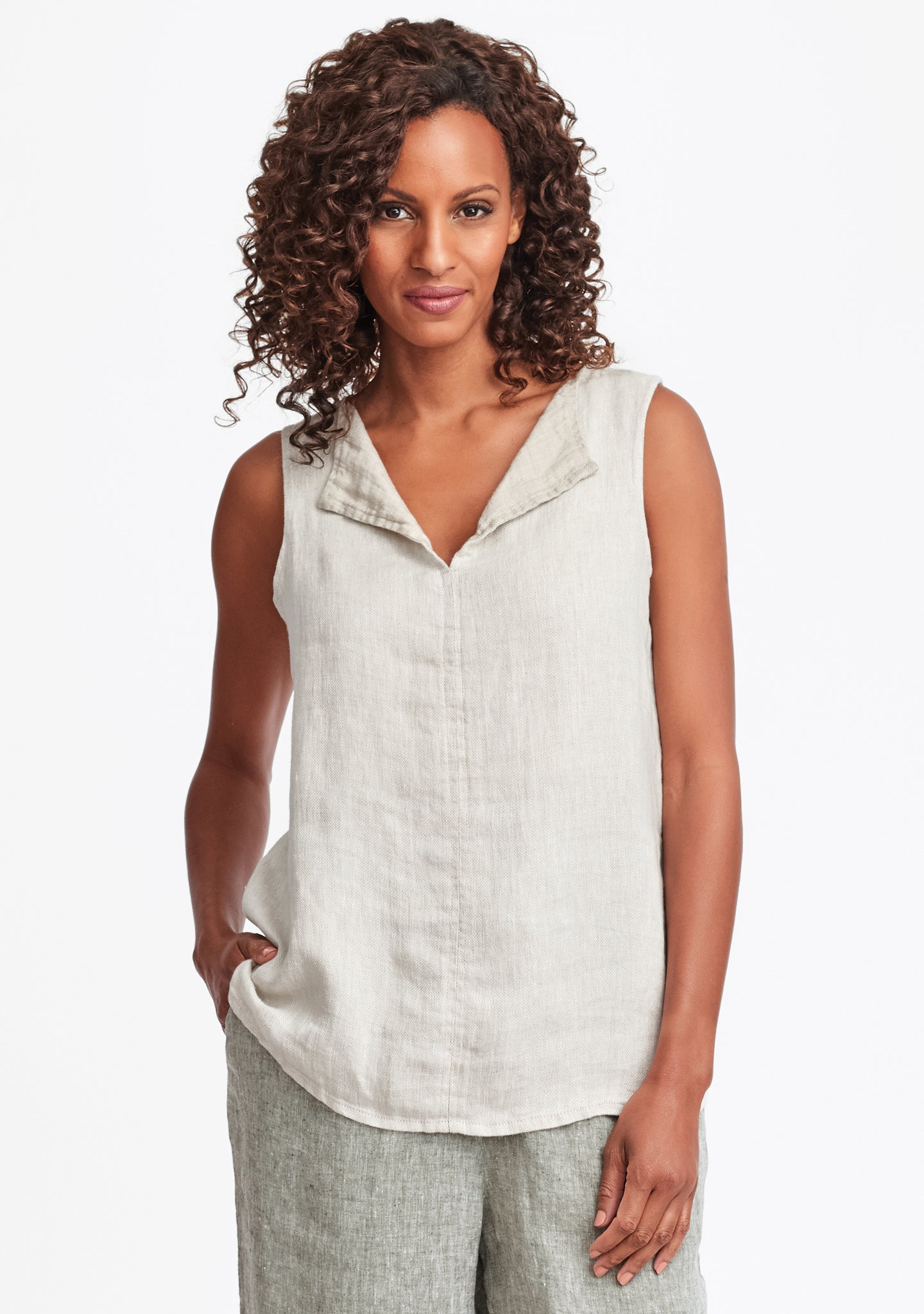 collared tank linen tank top natural