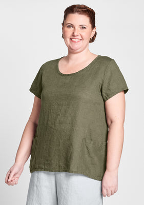 cool top linen t shirt green
