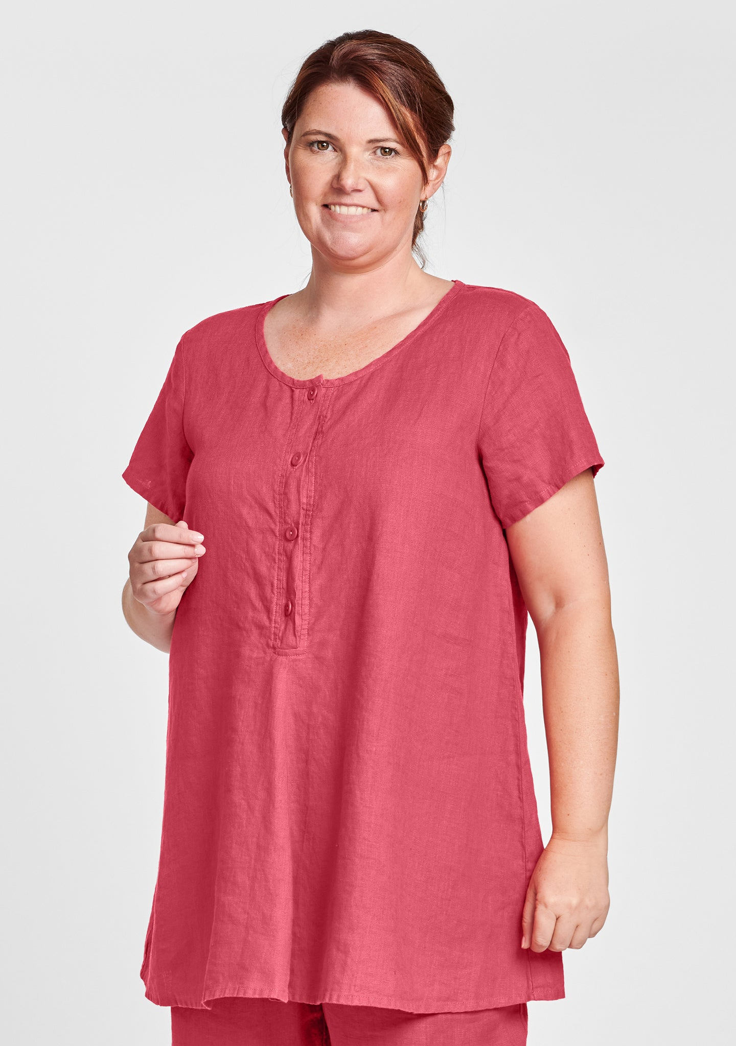 cool tunic linen shirt red