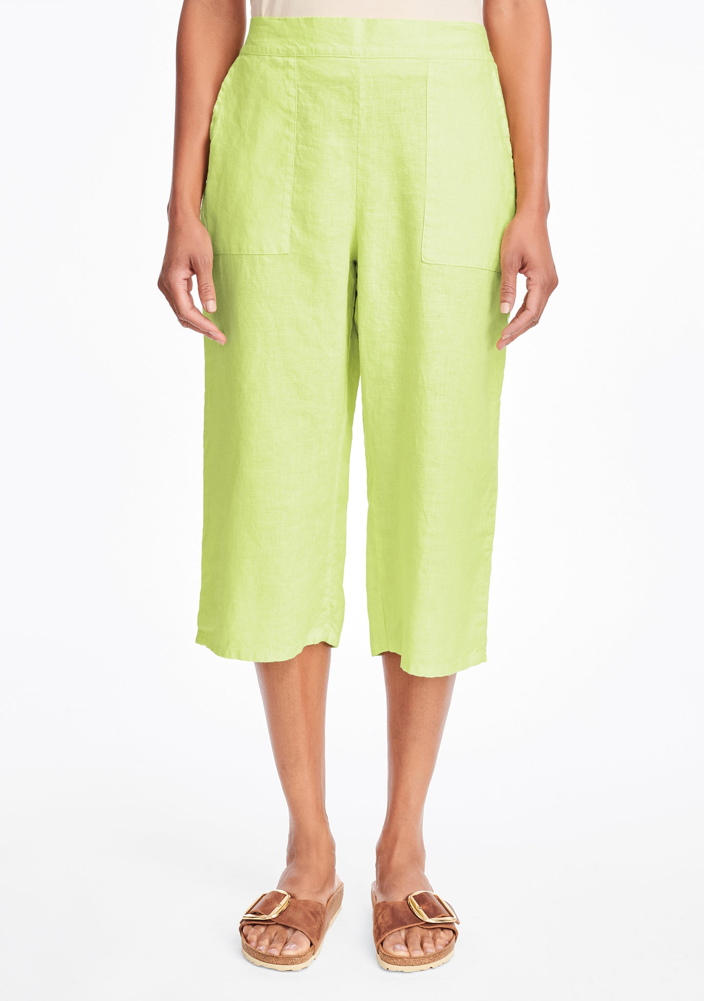 crop pant linen crop pants green