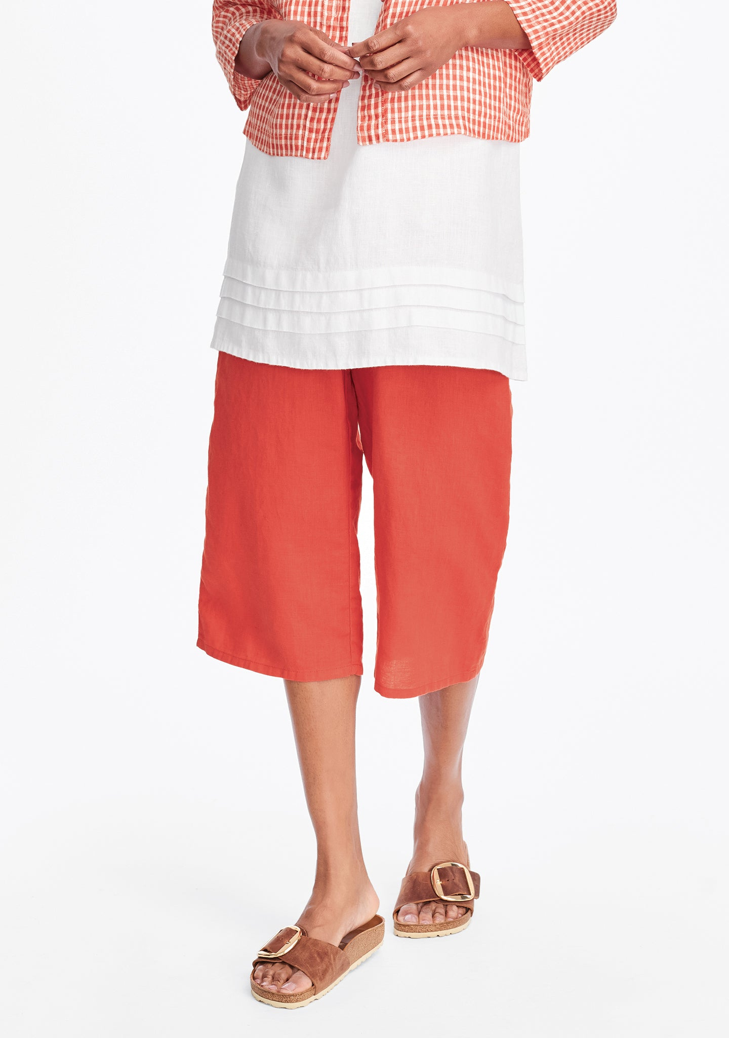 crop pant linen crop pants red