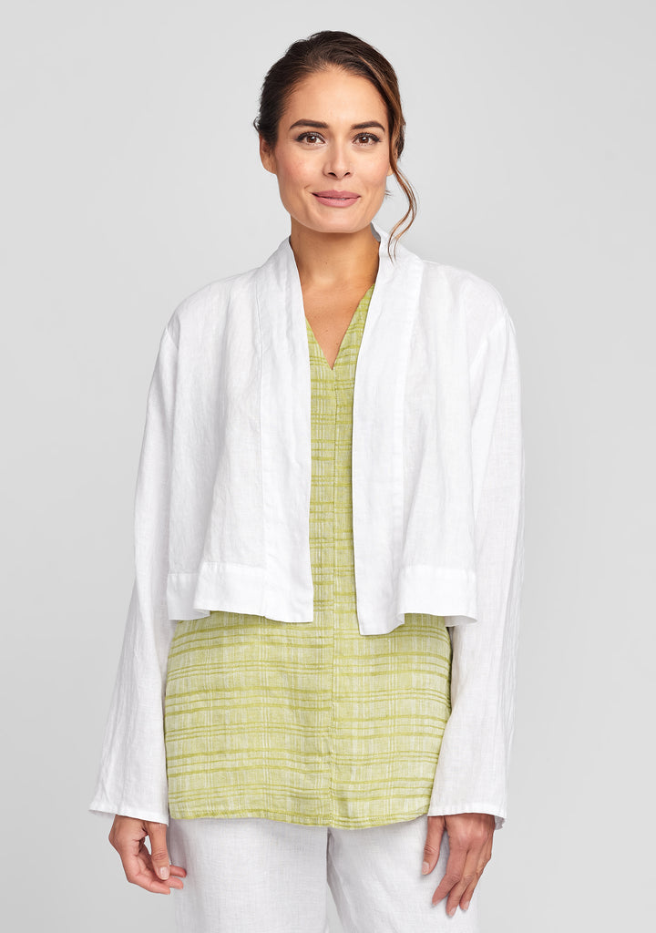 cropped cardigan linen cardigan white