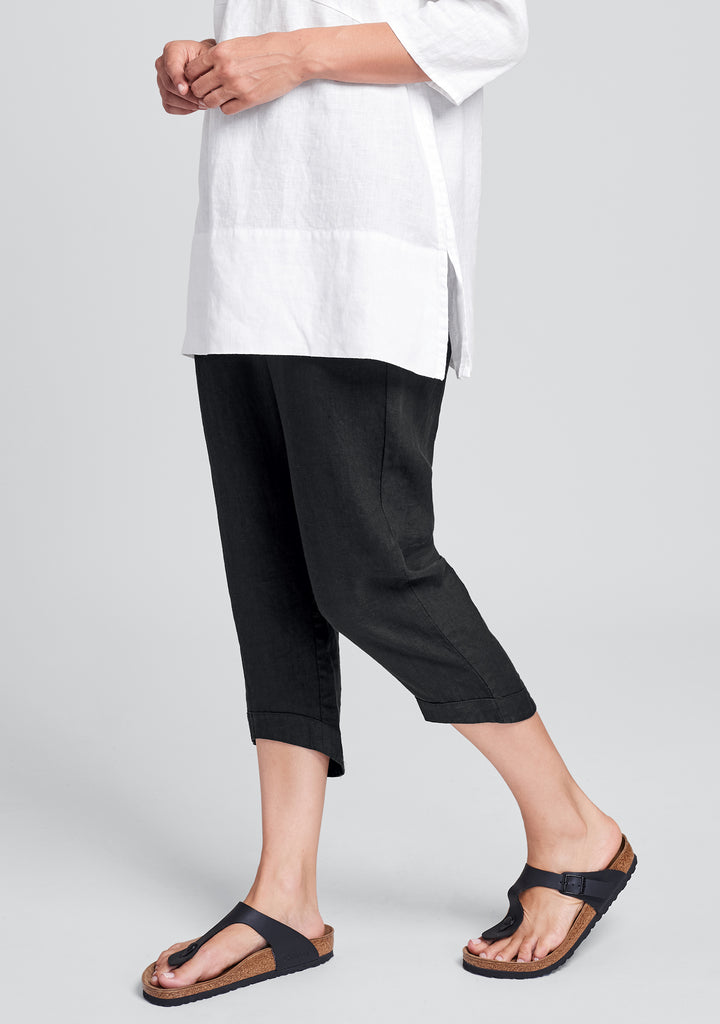 cropped pant linen crop pants black