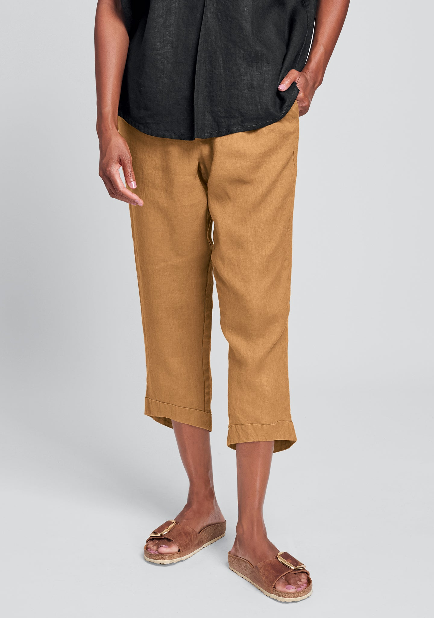 cropped pant linen crop pants orange