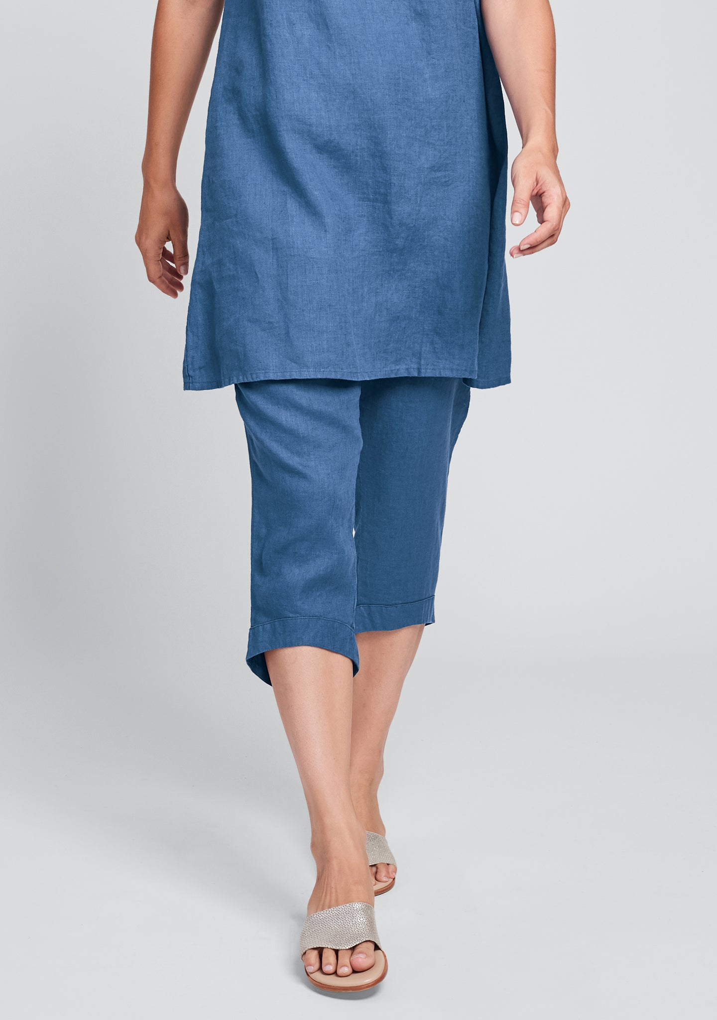 cropped pant linen crop pants blue