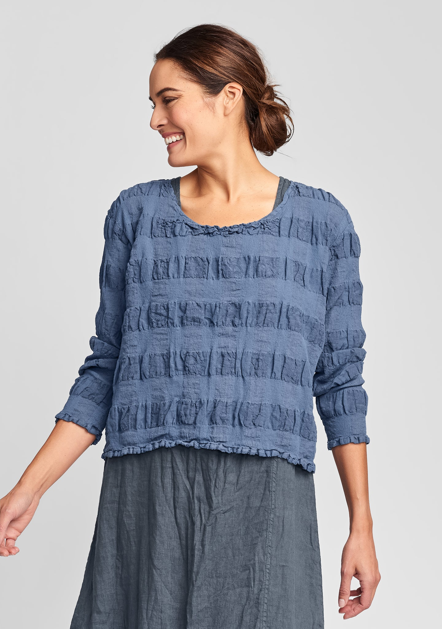 cropped pullover linen shirt blue