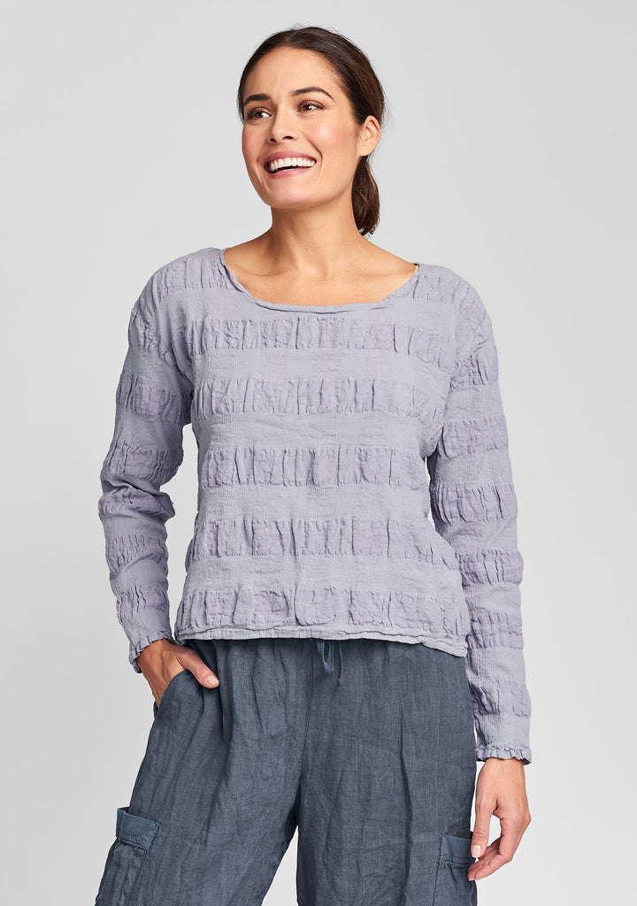 cropped pullover linen shirt purple
