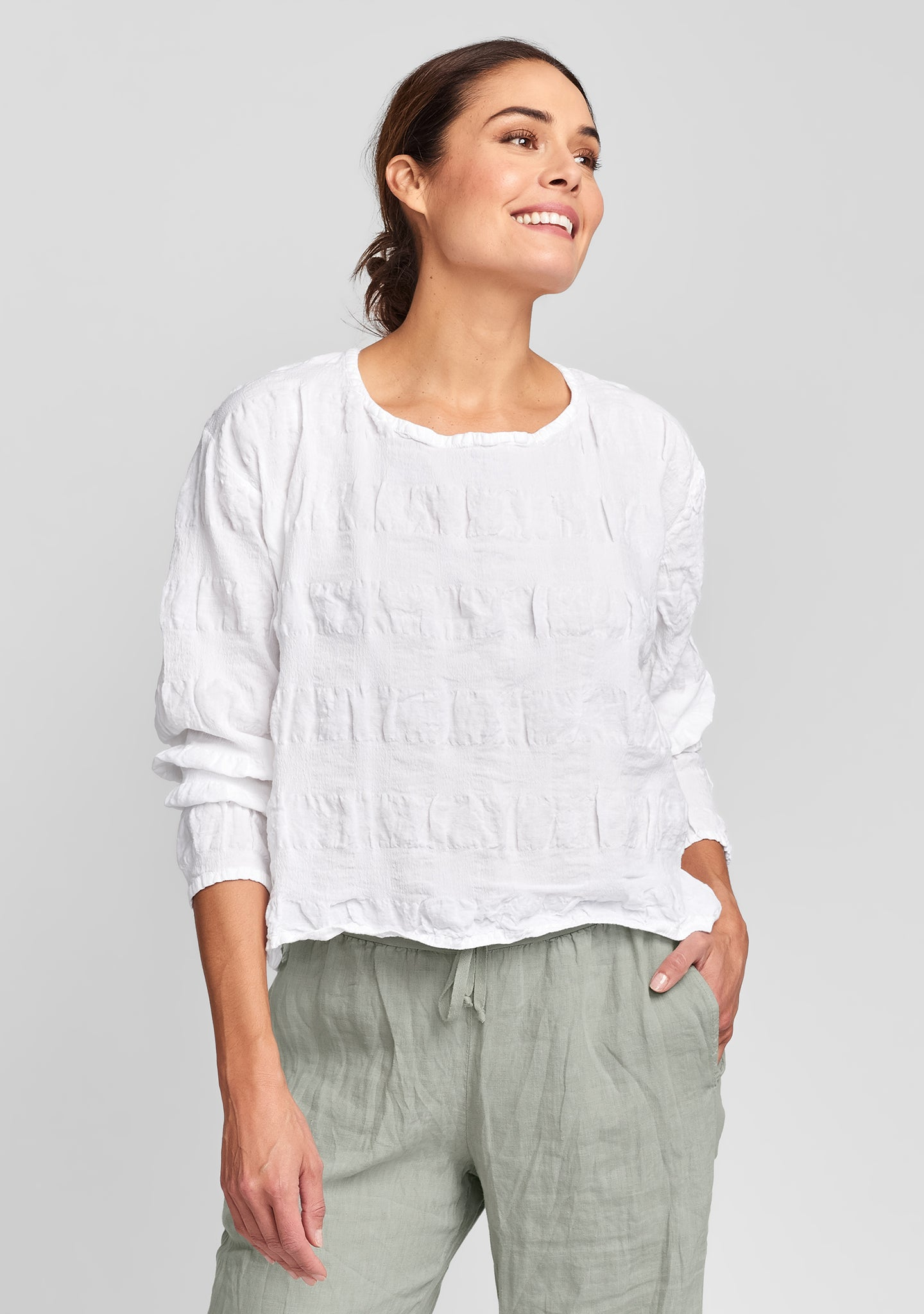 cropped pullover linen shirt white