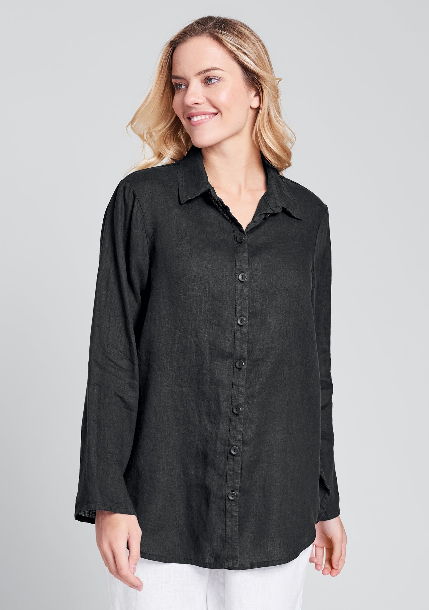 crossroads blouse linen button down shirt black
