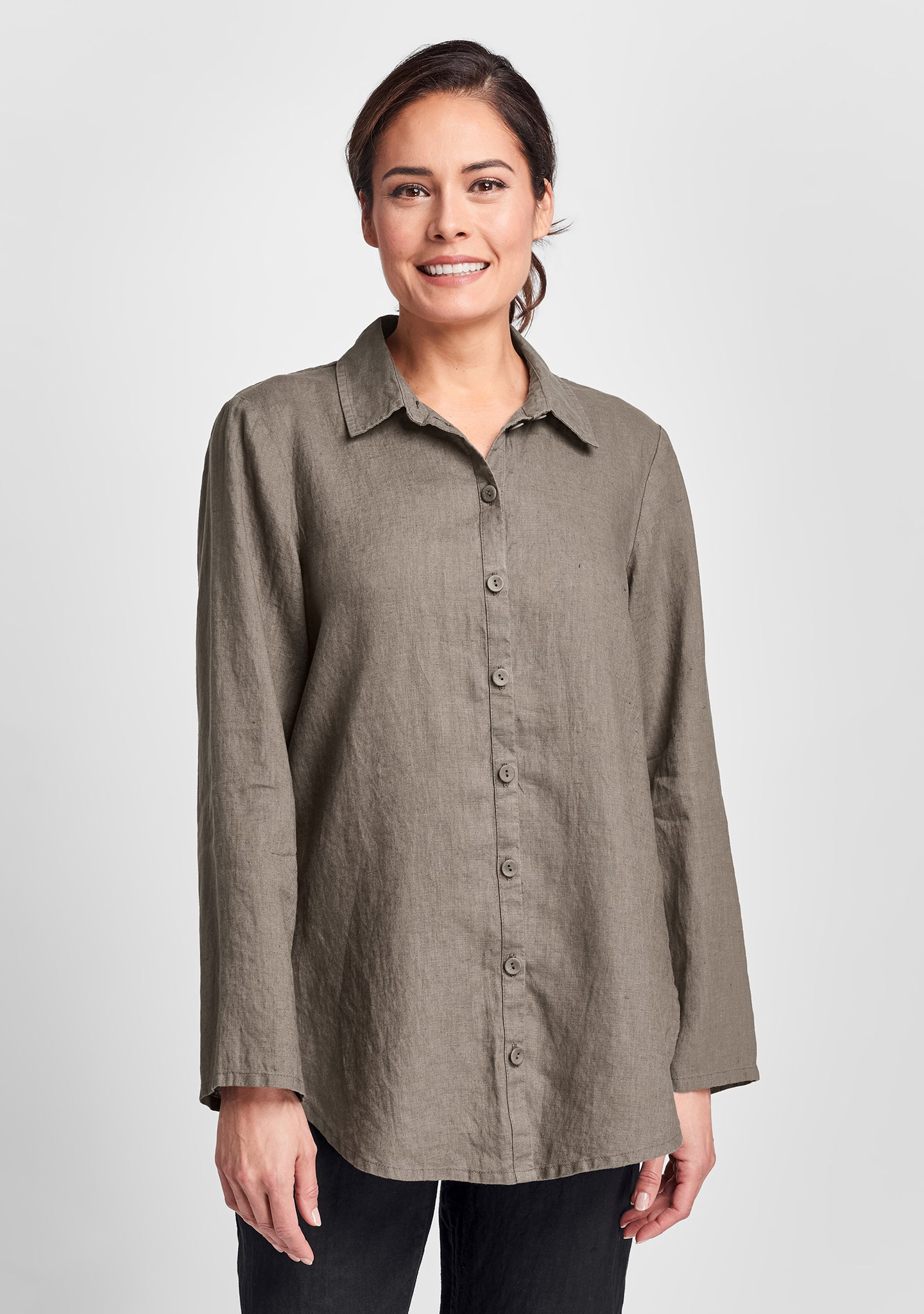 crossroads blouse linen button down shirt brown