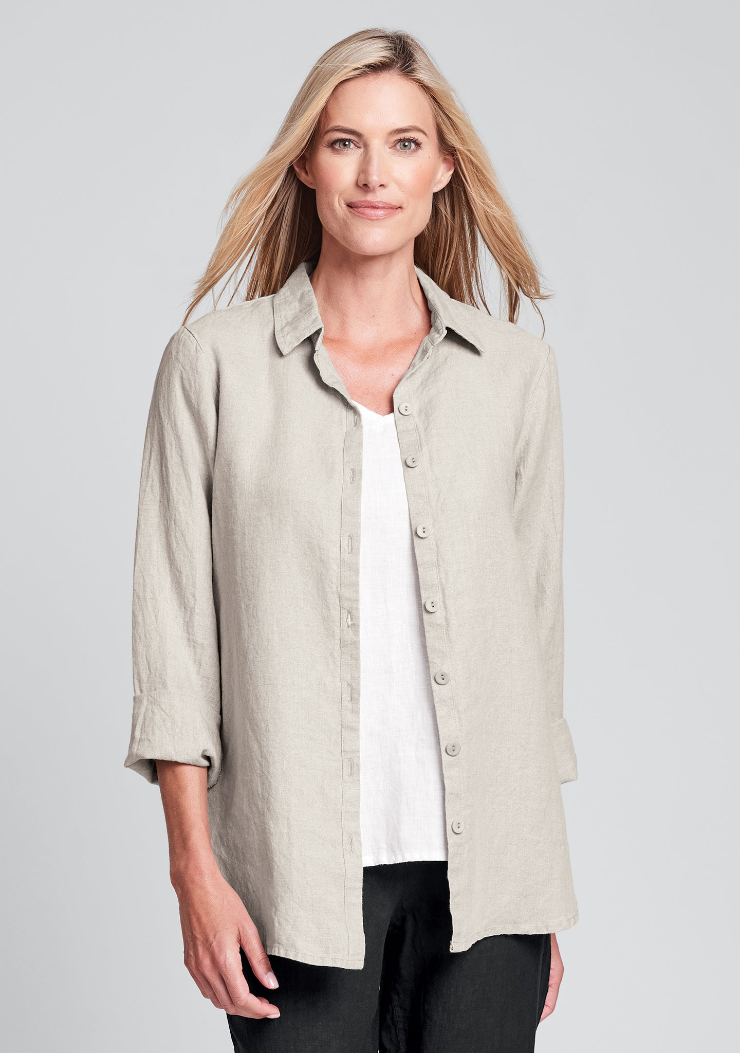 crossroads blouse linen button down shirt natural