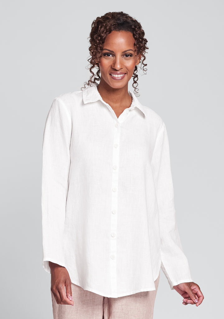 crossroads blouse linen button down shirt white
