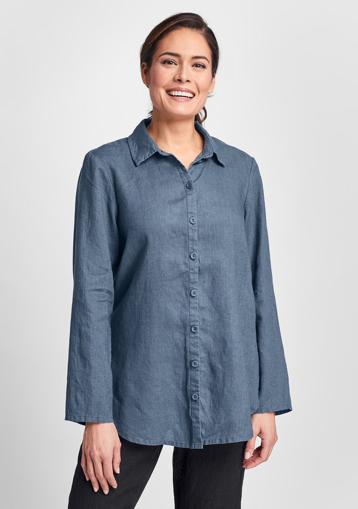 crossroads blouse linen button down shirt blue