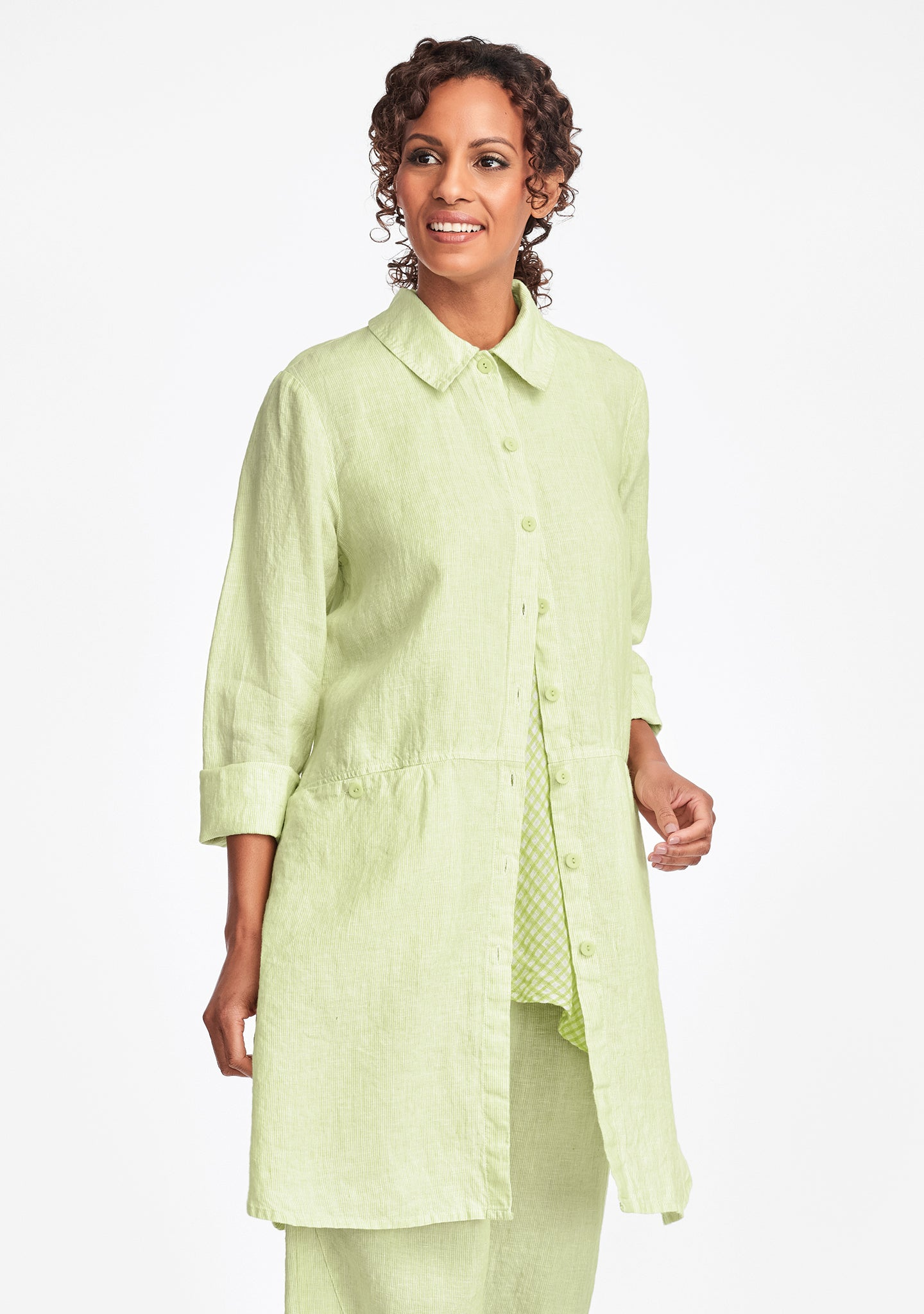 daily duster linen jacket green