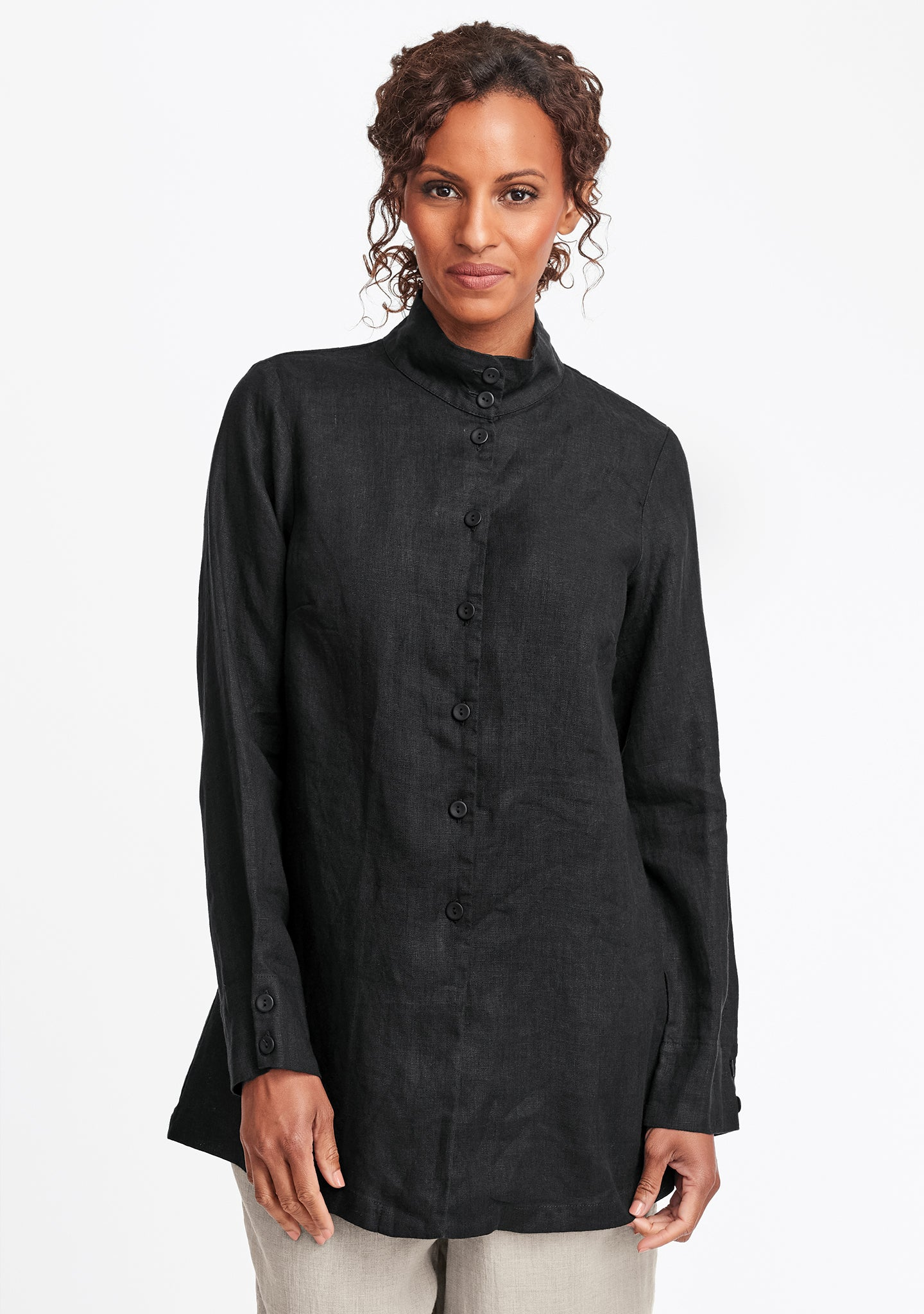 dame blouse linen button down shirt black