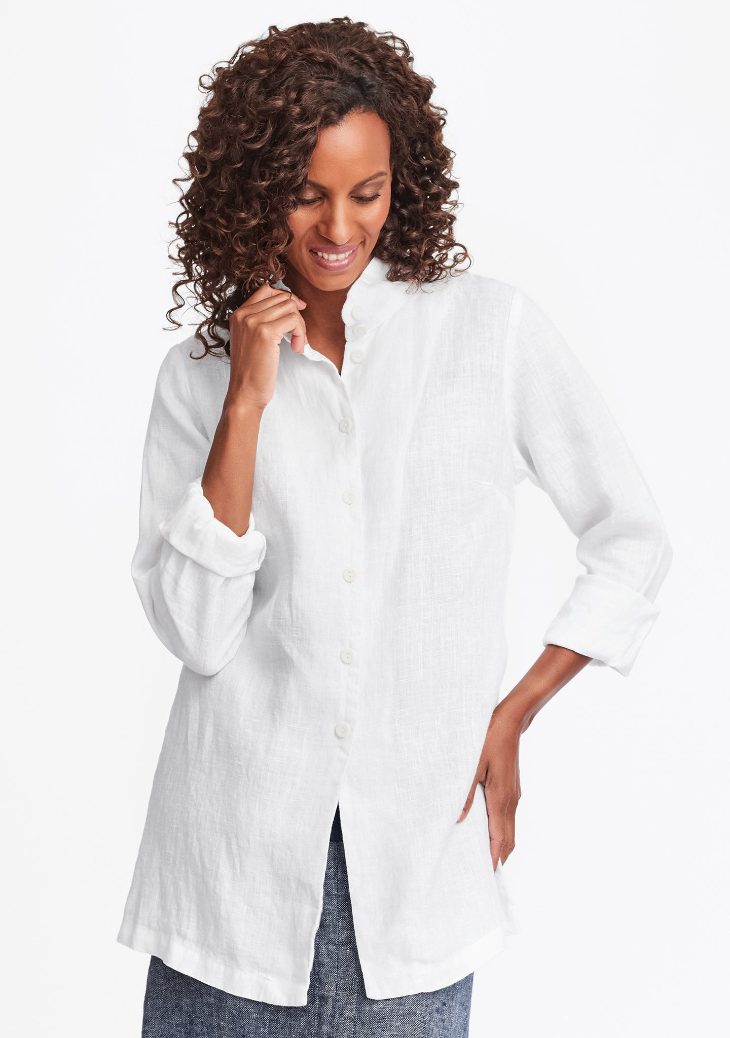 dame blouse linen button down shirt white