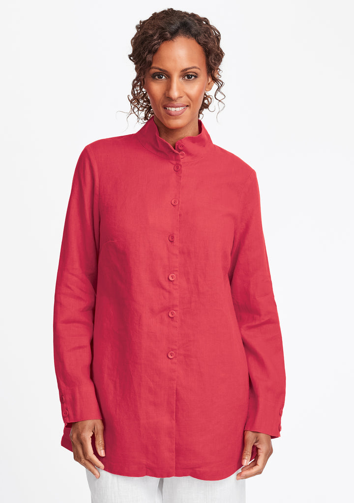 dame blouse linen button down shirt red