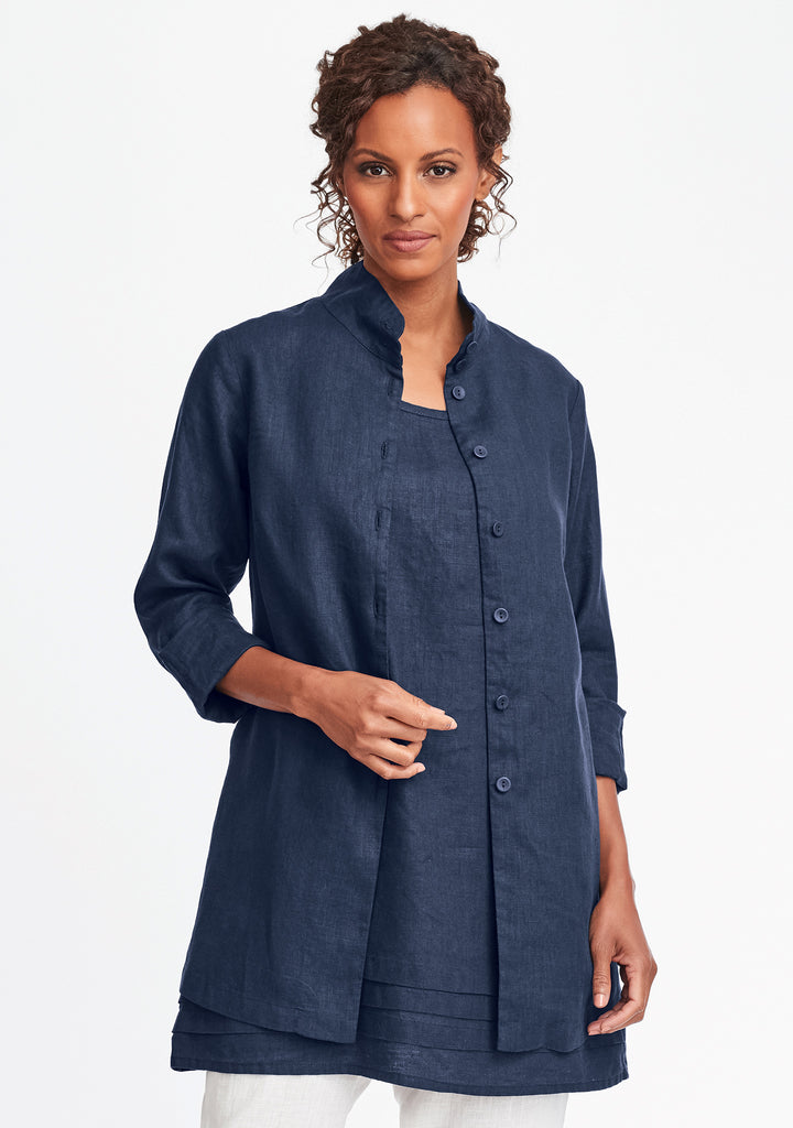 dame blouse linen button down shirt blue