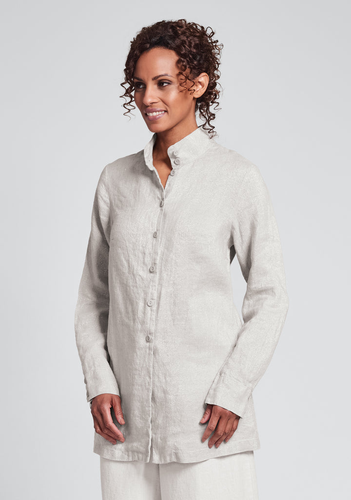 dame blouse linen button down shirt natural