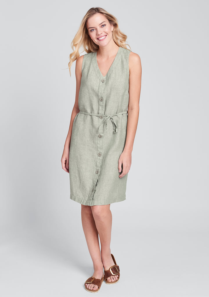 damsel dress linen button down dress green
