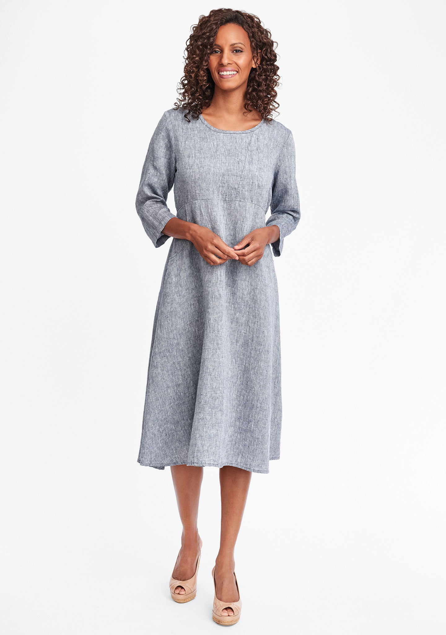 dashing dress linen midi dress blue