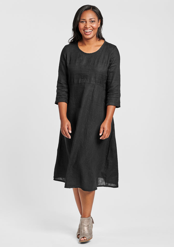 dashing dress linen midi dress black