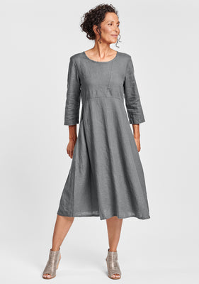 dashing dress linen midi dress grey