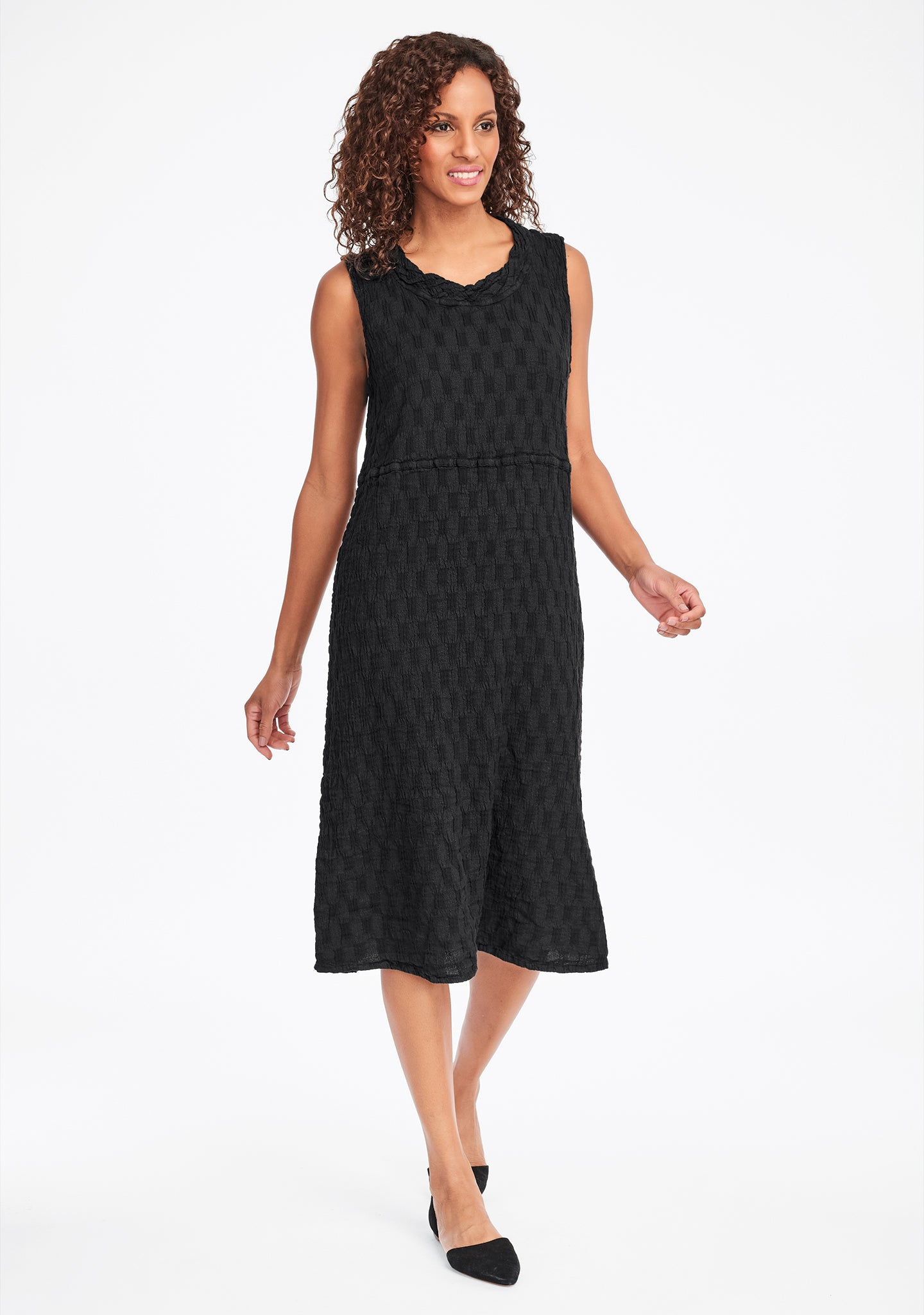 date night dress linen midi dress black